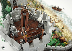 Lond Daer - Defense tower with dwarvish windlance (Barthezz Brick) Tags: lego lond daer middle middleearth medieval fantasy moc afol barthezz barthezzbrick brick custom lotr lord rings lordoftherings shipyard pub castle wall city