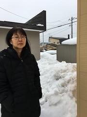 Naomi + Snow and Ice (sjrankin) Tags: 20february2019 edited snow weather winter snowbank kitahiroshima hokkaido japan naomi family neighborhood houses wires lines