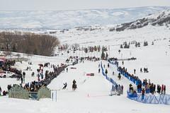 Skijoring at Soldier Hollow in Heber City, Utah (aaronrhawkins) Tags: skijoring soldierhollow hebercity utah ski skiing winter snow course crowd event horse cold run jump spectators race aaronhawkins