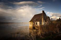 Svensen Island house at sunset (jody9) Tags: svensen riverfront columbia river astoria oregon