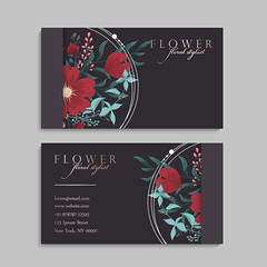 set of front and back of business card with flowers (Flexservice) Tags: card business flower design floral template background invitation style vintage banner artistic backdrop blank concept creative decoration graphic greeting illustration modern anniversary nature holiday artwork celebration colorful composition digital editable foliage happy layout leaflet ornamental ornate retro space stationery swirl vector visiting web abstract brand company corporate flyer peony print