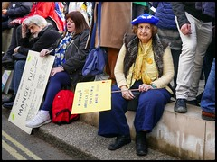 Tiring (NickD71) Tags: panasonic lumix dmclx100 mk1 snapseed london united kingdom street candid compact daily life people put it to the vote march second referendum peaceful protest one million strong strength eu europe european union remain revoke banner placard beret
