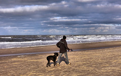 Bergen aan zee (2) (Gerard Koopman) Tags: man dog beach bergenaanzee