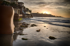 Sunset: La Jolla Shores looking South (Photos By Clark) Tags: california lajolla places location cities locale subjects beachshots where canon2470 unitedstates northamerica sandiego canon5div us pacific sunset water waves seawall reflection beach seaweed sand sun hdr nik thesandiegoist lightroom