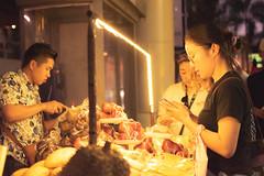 Short Wait (Shane Hebzynski) Tags: bangkok thailand night vendor man woman phone lights happyplanet asiafavorites