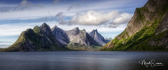 Mountains seen from Hamnøy (marko.erman) Tags: lofoten norway nordland reine sea mountains water clouds beautiful sony scenic idyllic nature outdoor outside travel popular quiet serenity pure transparency landscape nordic steep sunny montagne ciel paysage eau mer reflections