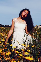 little white dress (sarrajaoui13) Tags: photography photoshoot modeling model portrait woman tunisia tunis carthage flore yellow flowers green nature natural little dress white throwback canoneos52nd