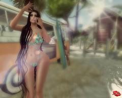 Surfing Chick (Rachel Swallows) Tags: bikini beach swimwear latex harness
