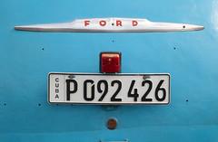 Cuban Blue Ford (peterkelly) Tags: digital canon 6d northamerica cuba caribbean havana oldhavana gadventures cubalibre oldcar blue licenseplate trunk keyhole ford