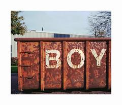 boy (ha*voc) Tags: mamiya7ii 65mm rangefinder film kodakektar100 6x7 urban rusty container skip schagen industrial mundane silence signs