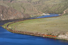 Four ACes (Moffat Road) Tags: bnsf coaltrain emd sd70ace dam river water curve lombardcanyon tostondam missouririver montanaraillink mrlsecondsub mrl2ndsub train railroad locomotive montana mt 8421
