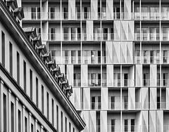 Symphony of lines (jefvandenhoute) Tags: belgium belgië brussels brussel light shapes monochrome geometric apartmentbuilding