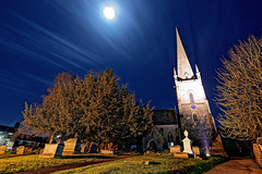 Moonlit Graveyard (Croydon Clicker) Tags: moon stars cloud night dark longexposure floodlight spire church grave headstone grass tree path footpath house rossonwye herefordshire