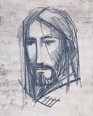 Jesus Christ Face ink digital illustration (iknuitsin) Tags: handdrawn illustration drawing ink sketch image religious religion catholic christian spiritual divine holy sacred jesus christ face god charcoal paint shape silhouette man art graphic