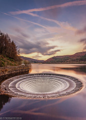 Lady Bower-10 (andyyoung37) Tags: dam ladybowerreservoir peakdistrict waterreflections plughole sunset sunsetreflections theportal