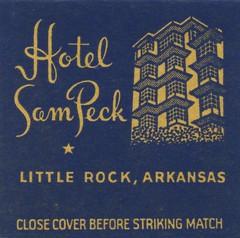 Hotel Sam Peck - Little Rock, Arkansas (The Cardboard America Archives) Tags: littlerock arkansas vintage matchbook matchcover