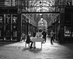music in the mall (douglasjarvis995) Tags: leeds bnw mono monochrome yorkshire piano shopping street olympus mju2