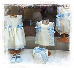 Simply Adorable (Audrey A Jackson) Tags: canon60d cadiz spain shop window outfits babies ribbon blue lace dress bonnet shoes workmanship adorable beautiful bows