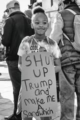 Shut Up Trump and Make Me a Sandwich (Thomas Hawk) Tags: america bayarea donaldtrump eastbay oakland sfbayarea trump us usa unitedstates unitedstatesofamerica westcoast womensmarch womensmarch2019 womenswave women'smarchoakland women'smarchoakland2019 bw demonstration politics protest california fav10 fav25 fav50