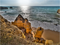 Nice view from a cliff (Luc V. de Zeeuw) Tags: beach coast coastline ocean rock sand water waves albufeiraeolhosdeágua algarve portugal