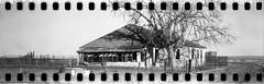 Abandoned homestead (No Stone Unturned Photography) Tags: blackandwhite monochrome kodak folding expired ilford delta 100 35mm film sprocketholes jiffy camera art deco 1933 six16 616 panoramic home house farm