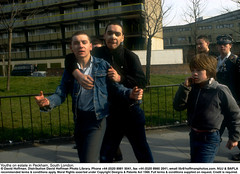 """Rough Kids 1 (hoffman) Tags: young aggression aggressive brokennose council estate flats gang horizontal housing rough youth davidhoffman wwwhoffmanphotoscom london uk davidhoffmanphotolibrary socialissues reportage stockphotos""""stock photostock photography"""" stockphotographs""""documentarywwwhoffmanphotoscom copyright"""