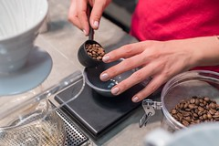 person scooping and measuring coffee beans - Credit to https://myfriendscoffee.com/ (John Beans) Tags: coffee coffeebean bean hand cafe coffeebeans shopbeans espresso coffeecup cup drink