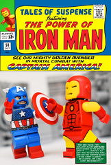 Tales of Suspense No. 58 (1964) (Andrew Cookston) Tags: lego marvel comics captainamerica ironman tonystark steverodgers thesilverage stanlee jackkirby red yellow blue silver comic cover tales suspense editing photoshop brothersfigure funnybrick custom minifig minifigs moc macro toy still life photography andrew cookston andrewcookston