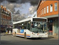 Travel de Courcey 566 (Jason 87030) Tags: man mcv evo evolution white blue orange bus midlands rugby northst straat sky dark light threatening weather uk 2019 sony ilce alpha a6000 lens tag 566 traveldecourcey mike ruby warks warwickshire town service route buses