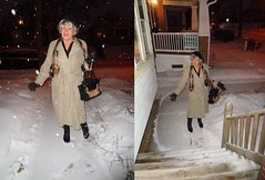 Snow--It's Not As Fun As It Looks (Laurette Victoria) Tags: snow winter woman laurette purse boots trenchcoat gloves wisconsin