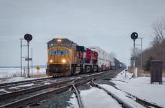 There's Some Color Here (Wheelnrail) Tags: csx ge train trains locomotive coal loco quincy ohio oh tri light signal indianapolis line subdivision grain elevator tree railroad sky union pacific kcs ferromex q131