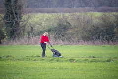 DSC_5063 Scawby North Lincolnshire Lady in Red Sweater Cutting the Grass on the Public Right of Way used by Dog Walkers (photographer695) Tags: scawby north lincolnshire lady red sweater cutting grass public right way used by dog walkers