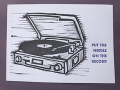 Put the Needle on the Record (artnoose) Tags: record player vinyl linoblock letterpress print month club etsy patreon lettra linoleum turntable needle