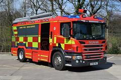 Surrey - EY68VNJ (matthewleggott) Tags: rosenbauer uk ey68vnj sy264 scania fire engine appliance surrey rescue service monitor roof