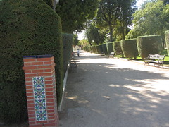 A path in Parque Gasset, 1915, Ciudad Real,  La Mancha (d.kevan) Tags: parksandgardens parquegasset 1915 ciudadreal lamancha paths plants trees grass streetlamps decorativedetails tiles