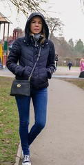 Playground? To cold. Adult playground? Hmm... (PhotoFreakx) Tags: portrait outdoor blonde hood fall autumn winter jeans convers sexy naughty wife prettygirl