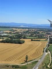 Golden fields, view to Centrale Nucléaire EDF du Bugey, landing at Lyon, France (Paul McClure DC) Tags: lyon france july2017 architecture scenery fromtheair aerial rhône isère ain auvergnerhônealpes
