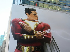Shazam The Big Red Cheese Billboard 42nd St NYC 3649 (Brechtbug) Tags: shazam billboard 42nd street new captain marvel the big red cheese poster ad nyc 2019 times square movie billboards york city work working worker paint painting advertisement dc comic comics hero superhero alien dark knight bat adventure national periodicals publication book character near broadway shield s insignia blue forty second st fortysecond 03122019 lightning flight flying march