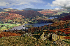 Grasmere + Rydal Water from Silver How (Iand49) Tags: grasmere rydalwater lakes ambleside cumbria england europe lakedistrict thelakes lakeland water bluewater sunnyday autumn november rocks trees autumnalcolours goldenbracken ruggedterrain silverhow fell nature outdoor tranquil landscape serene picturesque majesticscenery scenicview boulders tourism fellwalking hiking countryside crags holidays travel pastoral rural film analogue