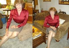 Once Again In Secretarial Mode (Laurette Victoria) Tags: composite blouse skirt auburn secretary woman laurette legs