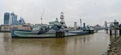 HMS Belfast (Geoff Henson) Tags: ship boat battleship navy hms hmsbelfast river water thames bridge towerbridge skyscraper buildings architecture london embankment jetty