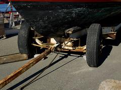 Boat trailer (Jonathon Bennett Photos) Tags: boat scrape trailer paint refurbish ship harbour latchi cyprus water sea