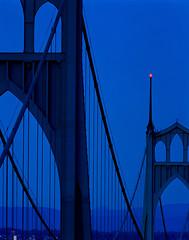 The Two Towers (Zeb Andrews) Tags: stjohnsbridge portland oregon 6x7 pentax6x7 film mediumformat dusk twilight bluehour blue gothic architecture pacificnorthwest pdx