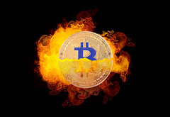 Bitcoin with fire on black background (wuestenigel) Tags: electronic market crypto cut background bitcoin finance coin bear money mining digital broken bussiness crash bullmarket fire cryptocurrency btc desktop abstract abstrakt design symbol luminescence lumineszenz illustration number nummer light licht element dark dunkel art kunst shape gestalten insubstantial unwesentlich halving halvening