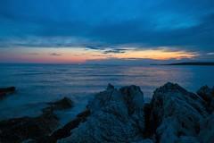 Evening colors (Robert Bauernhansl) Tags: istrien kroatien croatia sea meer himmel sky felsen rocks beach waves wellen blau hellblau orange blue farben colors sunset blauestunde bluehour istria