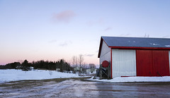 At the Farm (Danny VB) Tags: ice snow winter sunset reflection farm gaspesie sony 6300 barn red reddoor glace