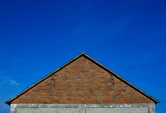 Sky above the barn (kurtyka.michal) Tags: barn clearsky sky bricks brickwall roof coun