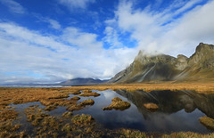 Landscape in Iceland : Hvalnes - Mt Eystrahorn (lotusblancphotography) Tags: iceland islande nature landscape paysage mount mont water eau reflets reflections sky ciel clouds nuages mountain montagne