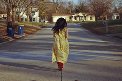 Run (TheJennire) Tags: photography fotografia foto photo canon camera camara colours colores cores light luz young tumblr indie teen adolescentcontent redboots dress running run movement 2018 carmel indiana usa eua unitedstates hair faceless street