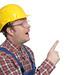 Bauarbeiter zeigt